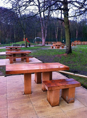 New benches, Jesmond Dene