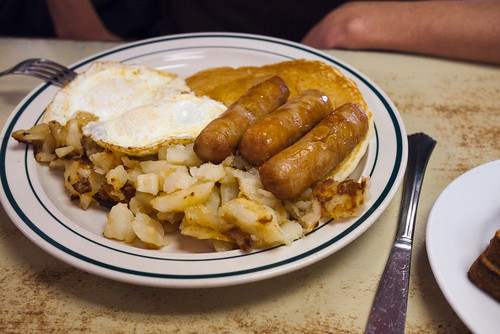 Pancakes, 3 sausages, fried eggs, hash browns @ Blackfoot Truckstop Diner