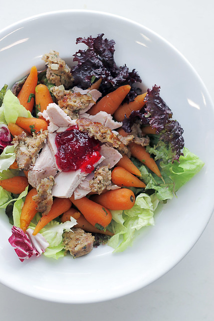 British Christmas Salad: Turkey, Carrots and Cranberries Sauce