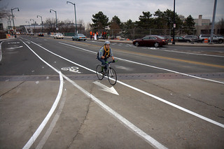 New BU Bridge Bike Lanes (Comm Ave side)