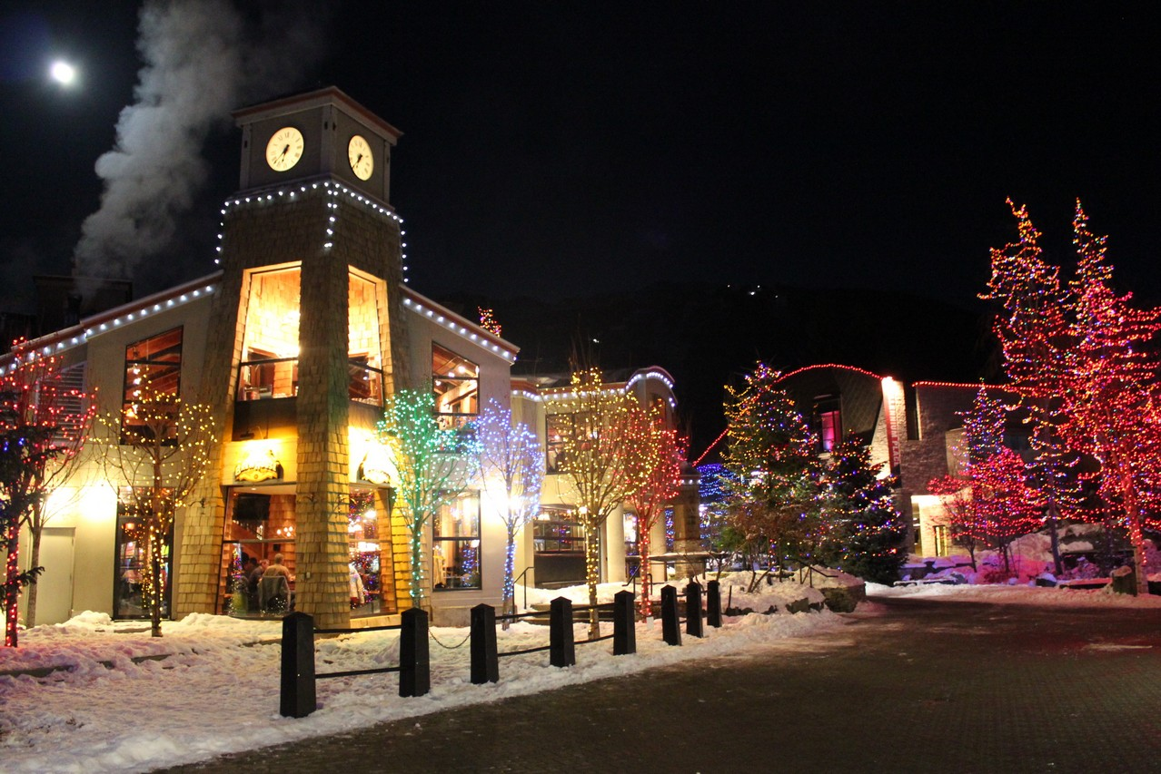 christmas lights in whistler village