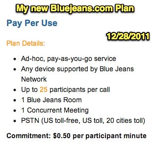 My new Bluejeans.com Plan