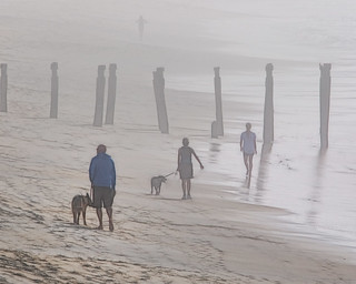 Beach walkers St Clair