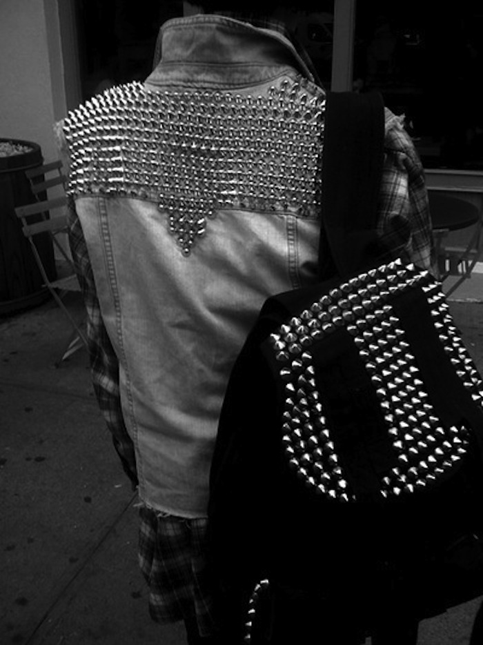 studded punk denim vest
