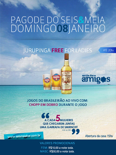 Flyer Domingo - Seis & Meia by chambe.com.br
