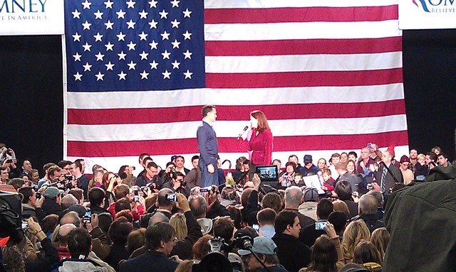 Mitt Romney is introduced at a rally in New Hampshire