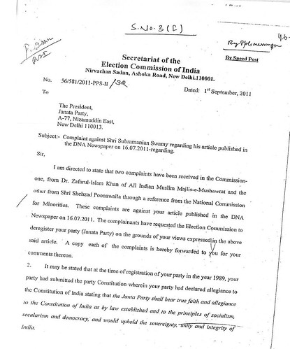 Story of a hot war of letters between election commission and show cause notice of election commission dated 1st sep 2011 page 1 spiritdancerdesigns Images