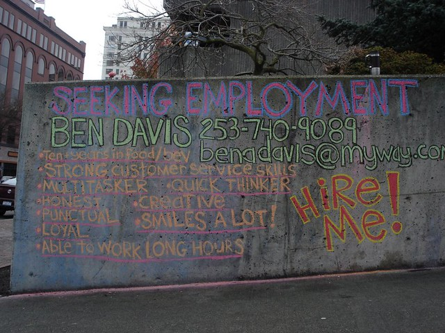 CHALK BILLBOARD: BEN DAVIS SEEKING EMPLOYMENT