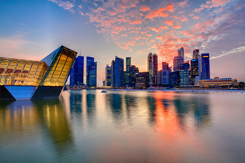 sunset reflection singapore cityscape skyscrapers dusk 7d 1022mm hdr marinabay crystalpavilion