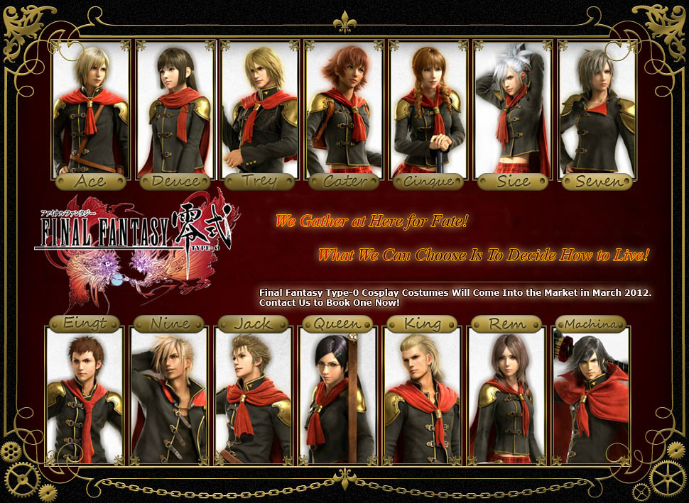Final Fantasy Type-0 Cosplay Costumes