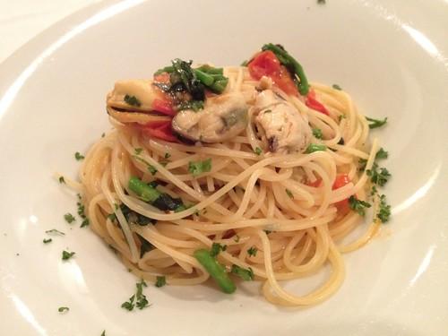 ムール貝とクレソン、チェリートマトのスパゲッティ@ビアンカーネ