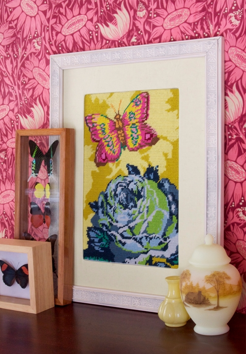 rose with butterfly needlepoint