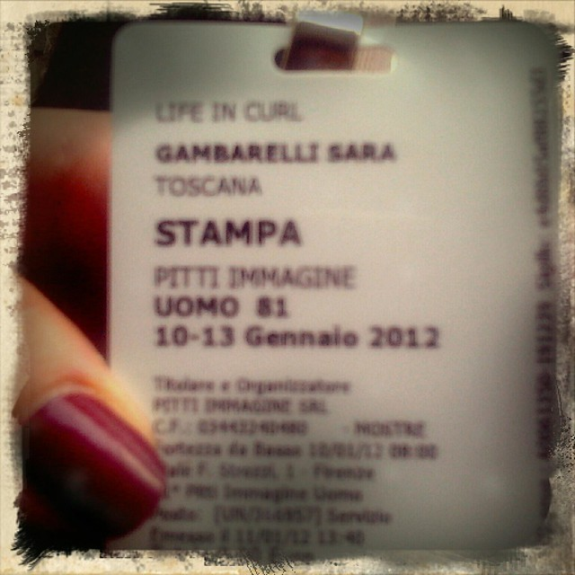 Il mio primo badge d'ingresso per Pitti come blogger