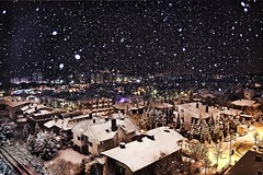 [フリー画像素材] 建築物・町並み, 都市・街, 雪, 夜景, 風景 - トルコ ID:201201192000