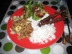Sunchoke casserole, baked pear salad, rice and tempeh satay