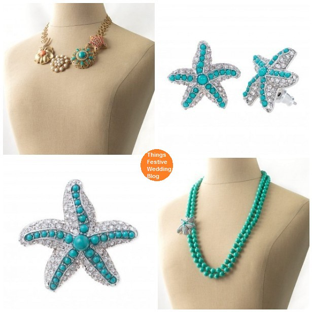 The beach wedding jewelry below features the iconic symbol of the ocean the