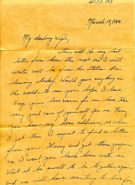 WWII March 13th 1944 Departing Soldier Love Letter to War Bride
