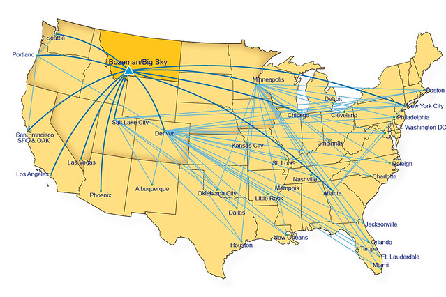 Direct Flight Map from January 2012