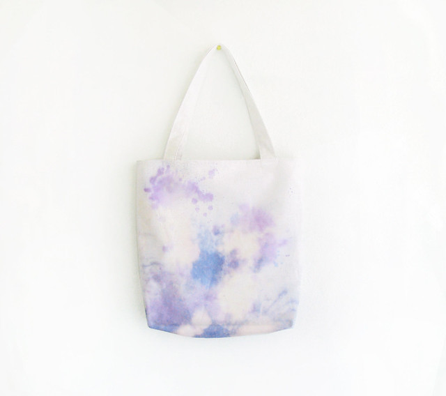 blue and purple splashes texture tote.