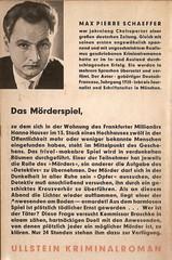 Max Pierre Schaeffer: Das Mörderspiel, Ullstein