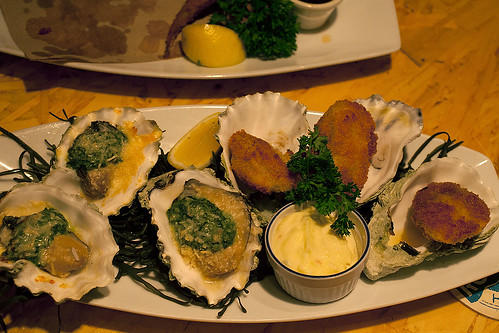 Oysters Rockefeller & pan-fried oysters