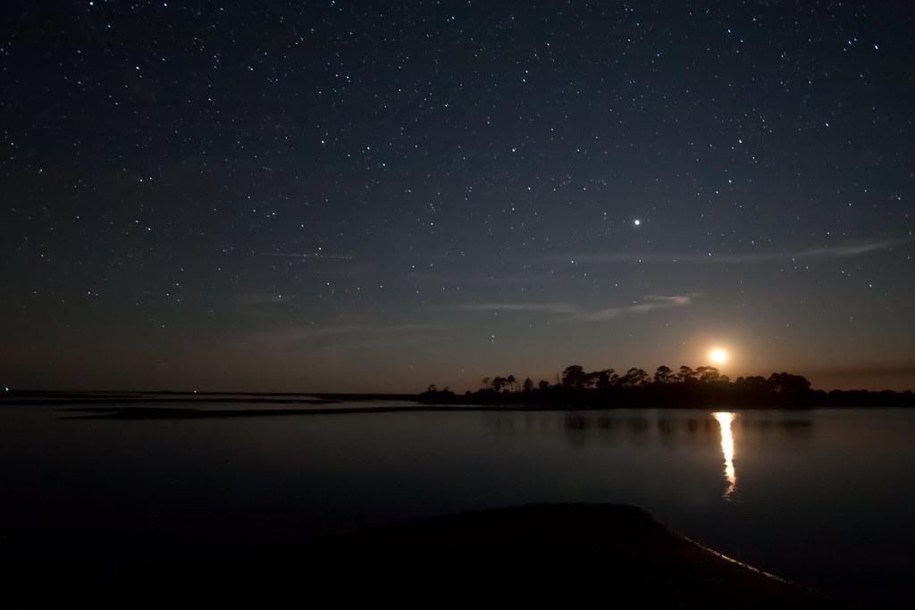 Moon Setting On Shell Mound