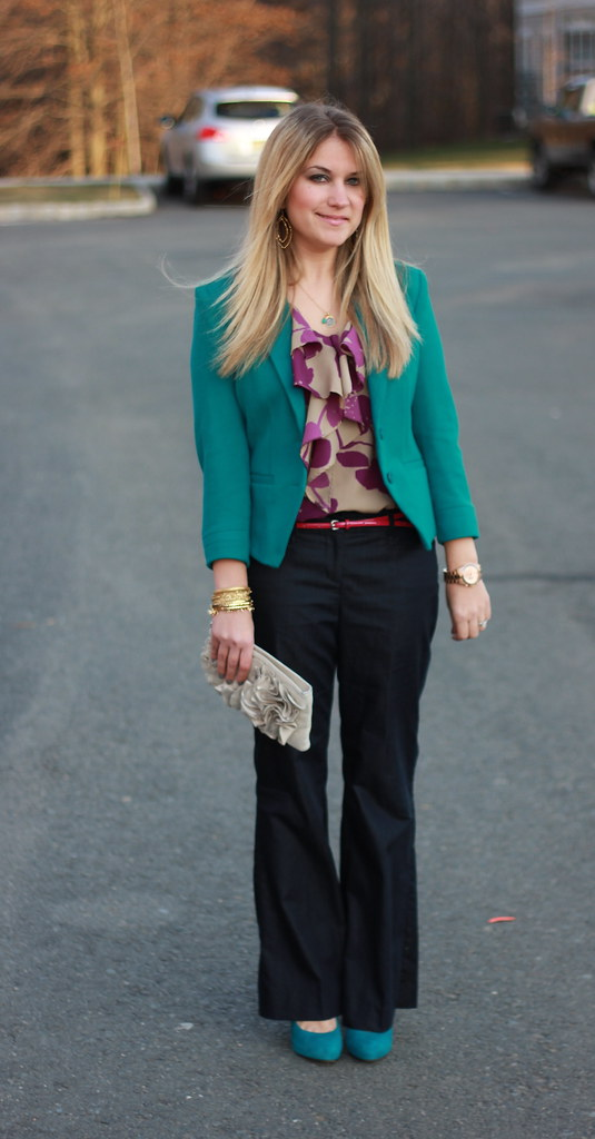Teal Blazer Business Casual Outfit Idea