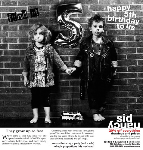 Sid and Nancy turn five. Well, the shop does, at least.