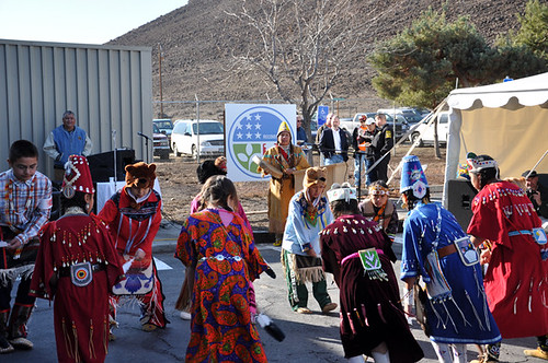 Members of the Confederated Tribe of Warm Springs celebrate