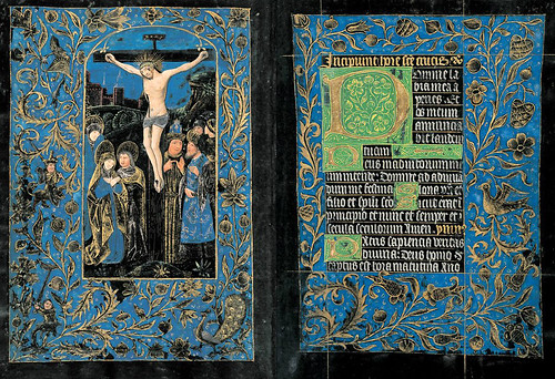 001- Crucifixión-Horas de la Cruz-Maitines- The Black Hours-Ms M.493-Fols. 14v-15r-© The Morgan Library & Museum