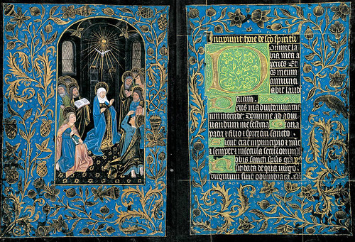 003- Pentecostés-Horas del Espíritu Santo-Maitines- The Black Hours-Ms M.493- fols. 18v-19r -© The Morgan Library & Museum