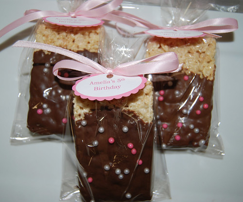 5th birthday chocolate dipped pink pearl rice krispie treat party favors