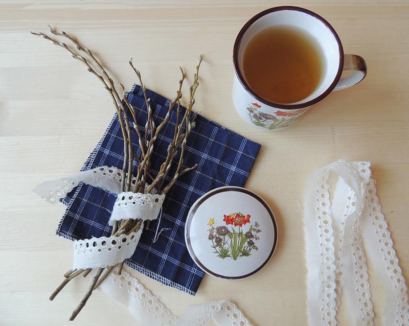 весенний чай и веточки 1