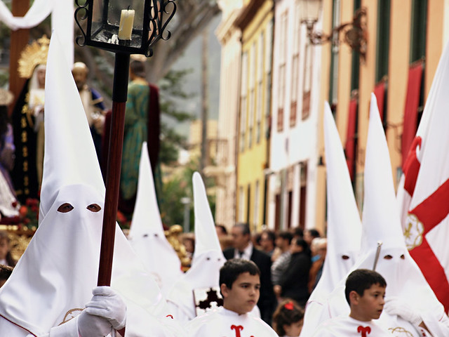 Brotherhood in white, Semana Santa, La Laguna, Tenerife