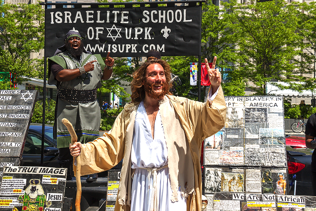 Philly Jesus on front of members of the Israelite School of Universal Practical Knowledge on 5-10-16--Center City 2