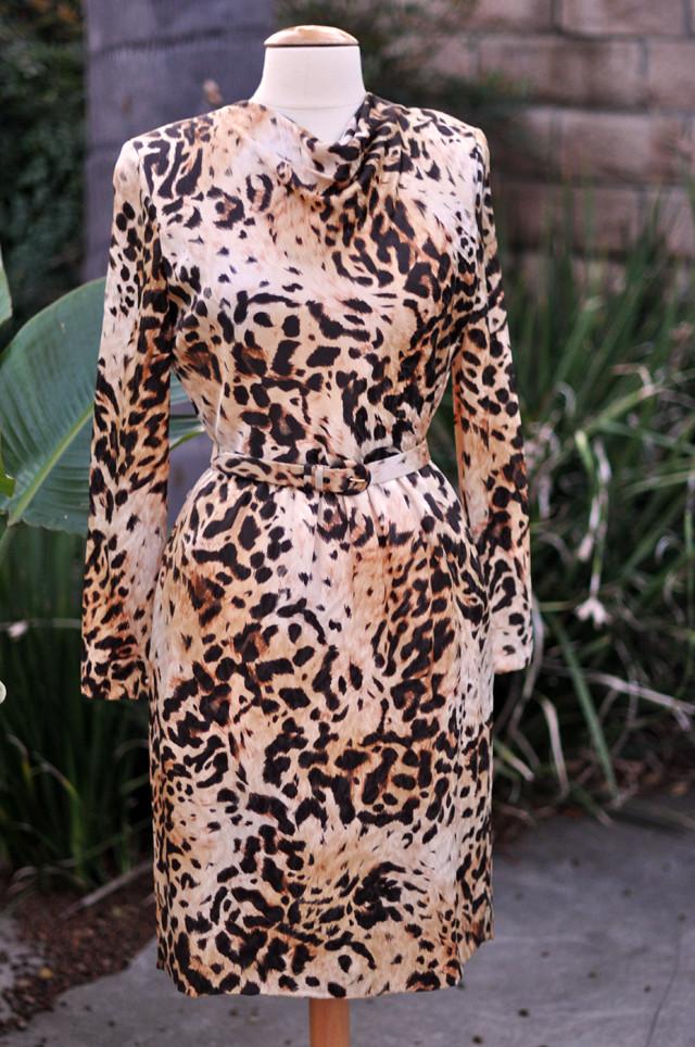 vintage bill blass animal print dress