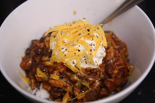 Turkey Chili with Rice, Sour Cream, and Shredded Cheddar