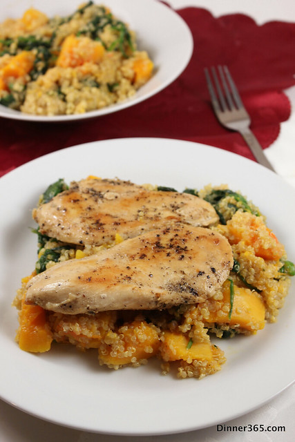 Day 333 - Quinoa with Butternut Squash and spinach topped with Chicken