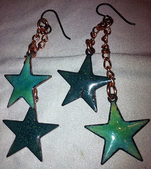 green star earrings