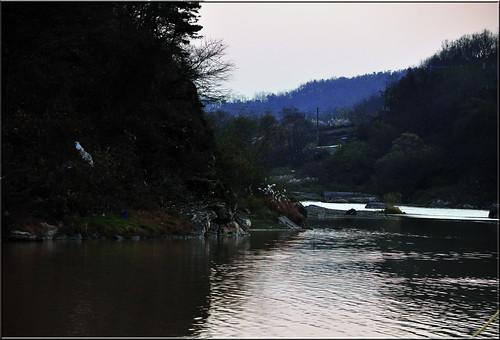 Looking Down River from the Nongdari Bridge at dusk.., Jincheon, Korea