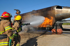 Firefighters train at Naval Station Guantanamo Bay.