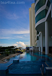 Blue skies and whirlpool at Le Meridien in Kota Kinabalu. Olympus PEN E-P3 with 12mm lens.