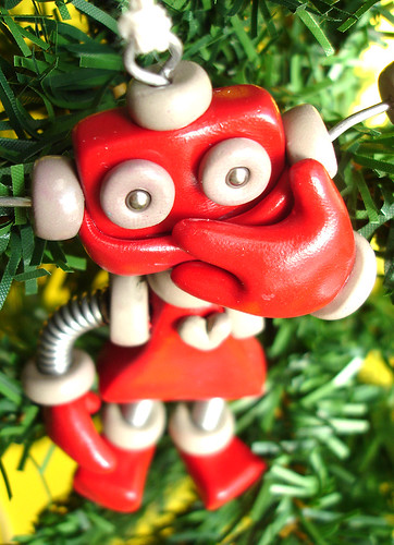 Robot Sculpture Red Reba Christmas Ornament by HerArtSheLoves