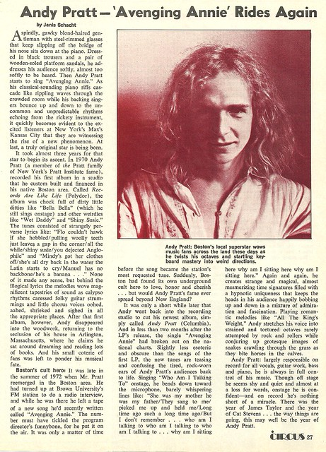 September 1973 Circus Magazine (Andy Pratt @ Max's Kansas City)