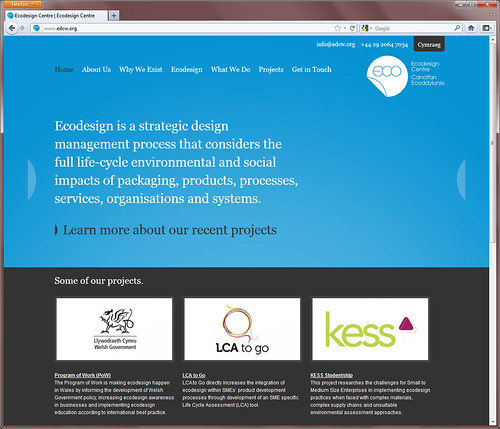 Screenshot of homepage - Eco Design Centre Website