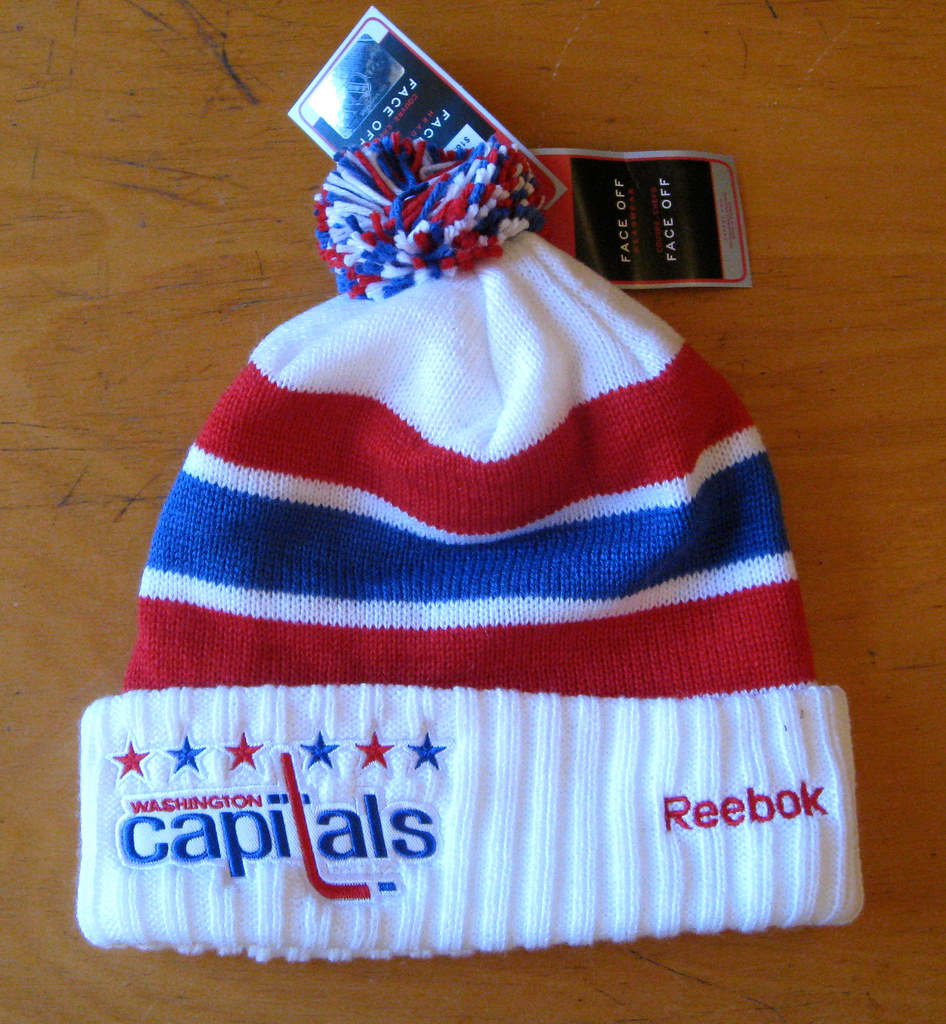 831c6ebc1 A Washington Capitals throwback pom-pom ski cap from last season s Winter  Classic. One size fits all.