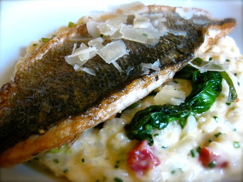 Grilled plaice with chorizo and spring onion risotto