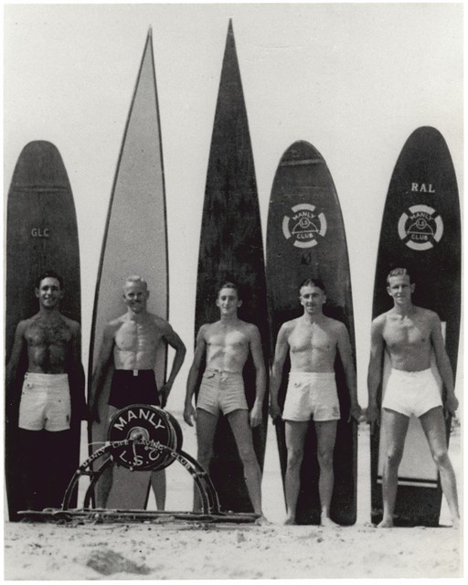 Surfing at Manly beach, New South Wales, 1938-46