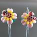 Earring pair : Ladybug & pink flower
