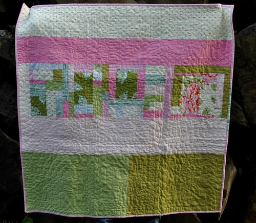 rose baby quilt back